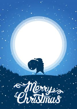 Winter scene with Santa bearing gifts on the background of the moon and lettering of Merry Christmas.