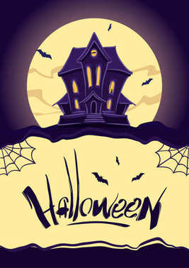 Vertical design template with Haunted house on moon background and Hand lettering of Halloween.
