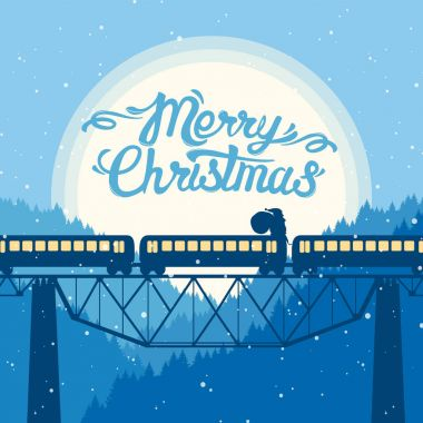 Santa Claus rides on top of the train on the background of the moon. Christmas greeting card with Hand Lettering.