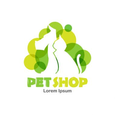 Logo design template for pet shop, veterinary clinic. Silhouette of dog and cat with green bubbles.