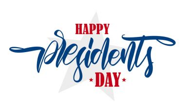 Vector illustration: Calligraphic hand lettering composition of Happy Presidents Day with stars