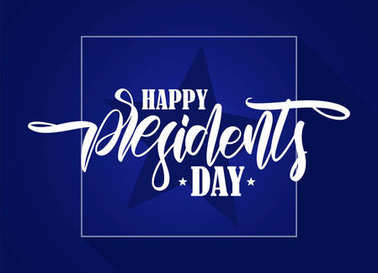 Vector illustration: Calligraphic hand lettering composition of Happy Presidents Day with stars on blue background