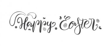 Vector illustration: Handwritten lettering of Happy Easter with bunnies ears and hand drawn eggs.