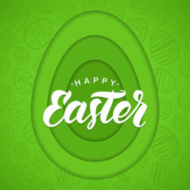 Vector Paper Cut Green Greeting card with handwritten lettering of Happy Easter