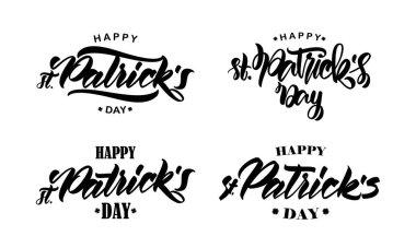Set of Handwritten modern brush type lettering composition of Happy St. Patricks Day on white background.
