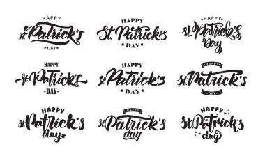 Big Set of Handwritten modern brush lettering composition of Happy St. Patricks Day on white background