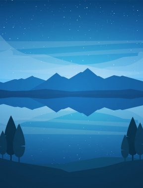 Vector illustration: Vertical Night Mountains Lake landscape with stars, reflection and trees on foreground