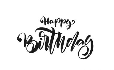 Handwritten textured brush type lettering of Happy Birthday on white background. Typography design. Greeting card.