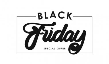 Calligraphic lettering composition of Black Friday in frame on white background. Special offer.