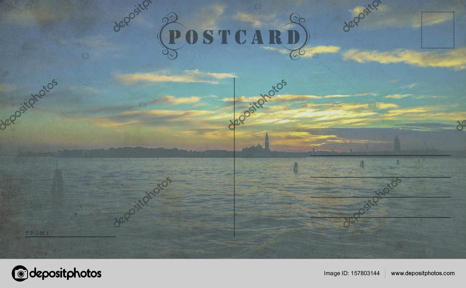 Plantilla de la postal de Italia. Listo para usar tarjeta postal de ...