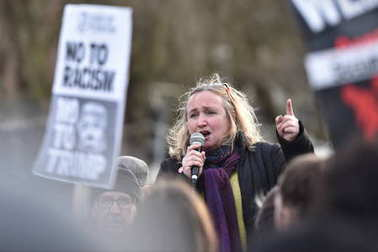 Bristol, UK, February 4, 2017: protestersmarch throughp city centre demonstrating against US President Donald Trump.
