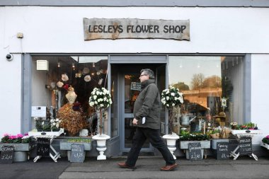 Frome, UK - January 5, 2017: Exterior view of florist in town centre
