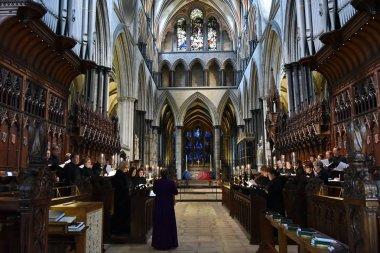 Salisbury, UK - August 22, 2017: choir performs in Salisbury Cathedral