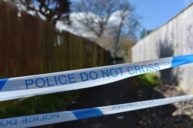 Crime Scene Police Cordon Tape Reading Police Do Not Cross