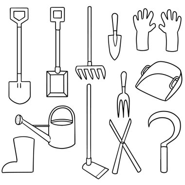 vector set of gardening equipment