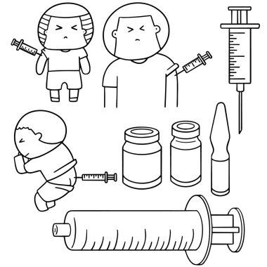 vector set of injection medicine