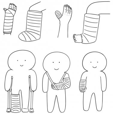 vector set of orthopedic cast
