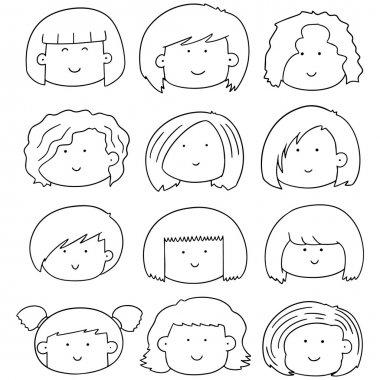 vector set of woman face
