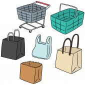vector set of cart, basket, paper bag and plastic bag