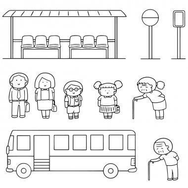 vector set of bus stop