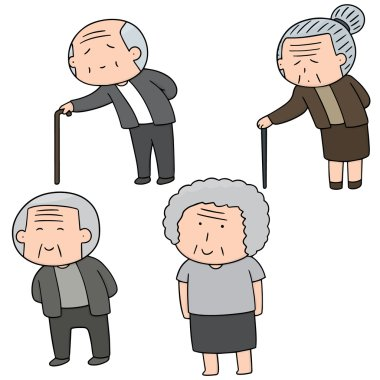 vector set of elder people