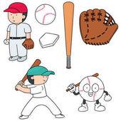 Vektorové Sada hráč baseballu a baseballové vybavení