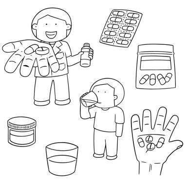vector set of taking medicine