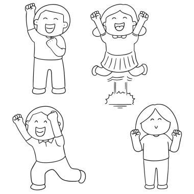vector set of happy people
