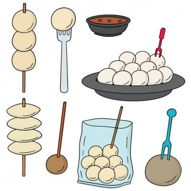 vector set of meatball, fish ball, pork ball and shrimp ball