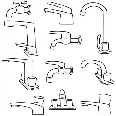 vector set of faucet