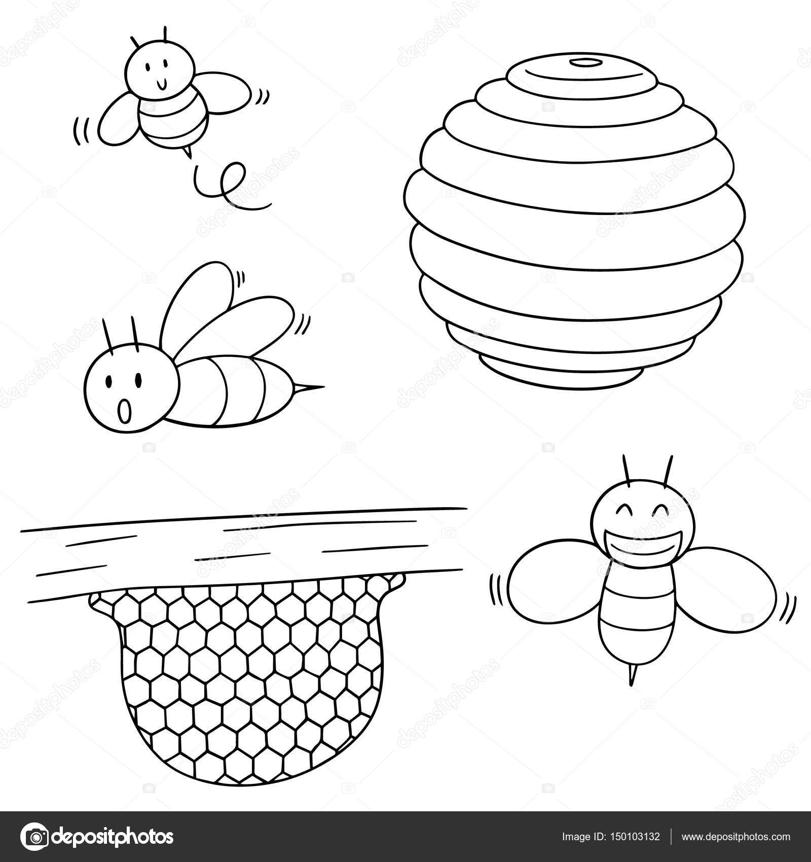 Vector Set Of Bee And Honeycomb Stock Vector
