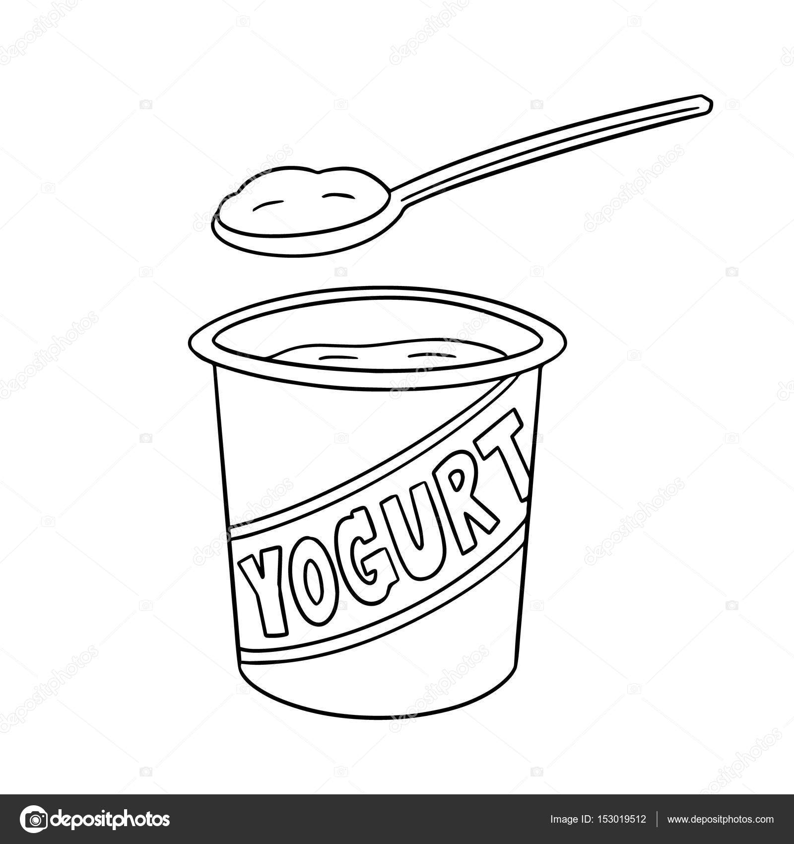 Yogurt Line Drawing : Vector set of yogurt — stock