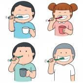 Vektorové Sada dětí, čištění zubů