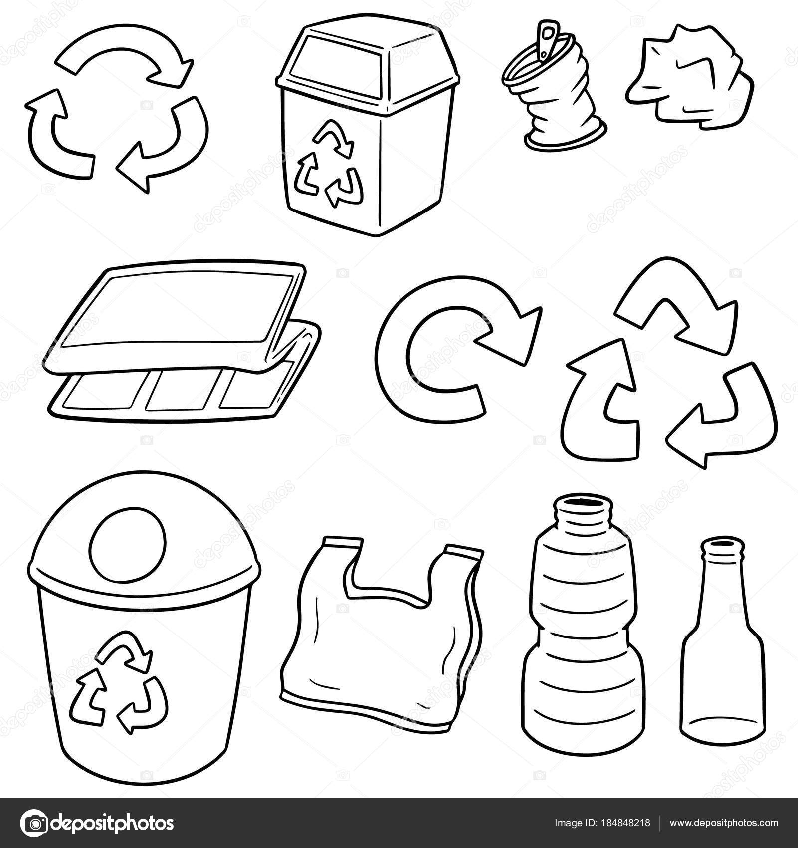 Dibujos Cesta De Basura Para Colorear Vector Conjunto Reciclaje