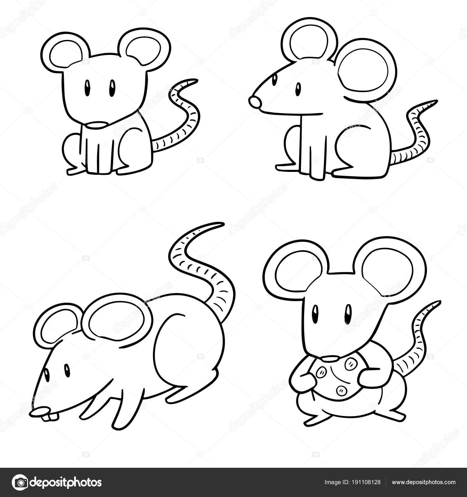 Imágenes Ratones Para Colorear Vector Conjunto Ratón