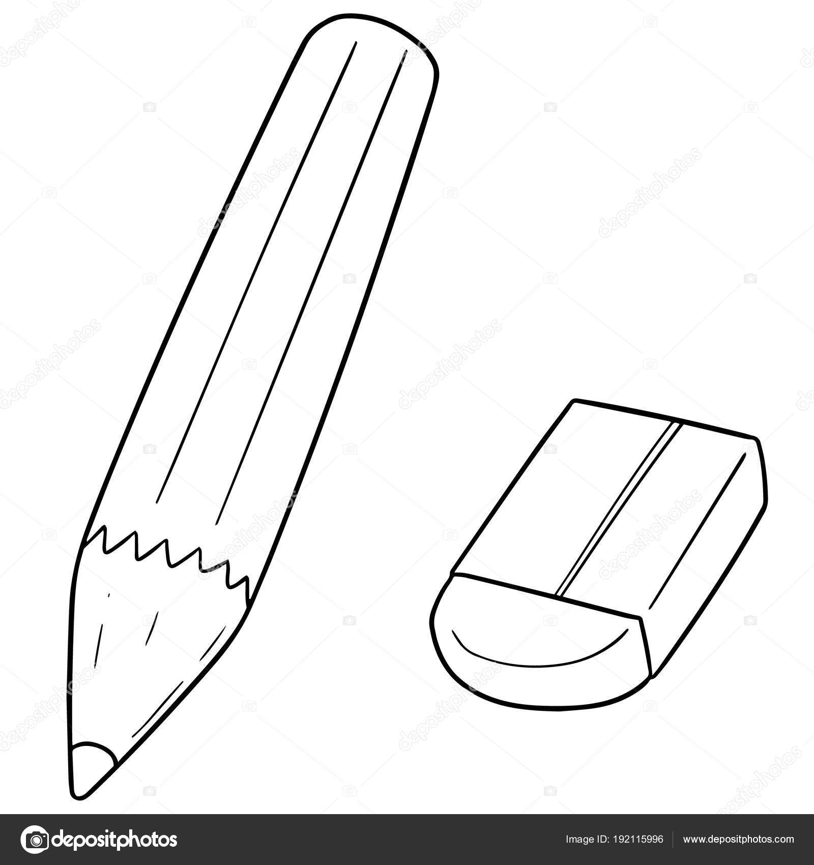 Vector Conjunto Lápiz Borrador Vector De Stock
