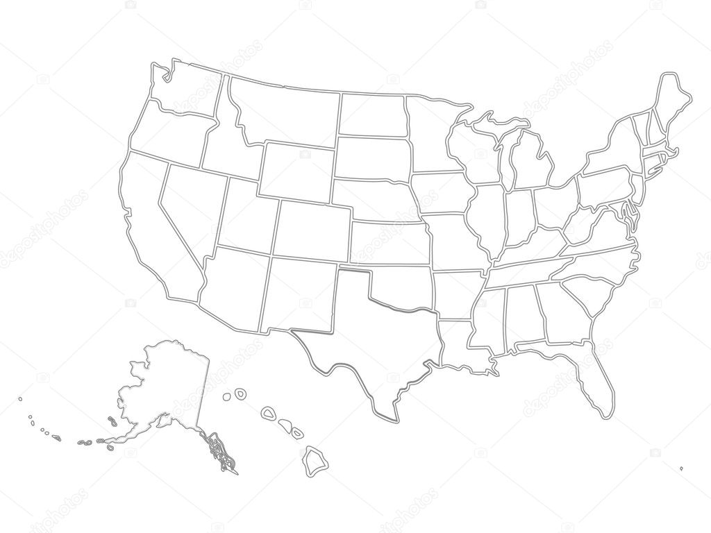 Blank similar USA map isolated on white background. United ...