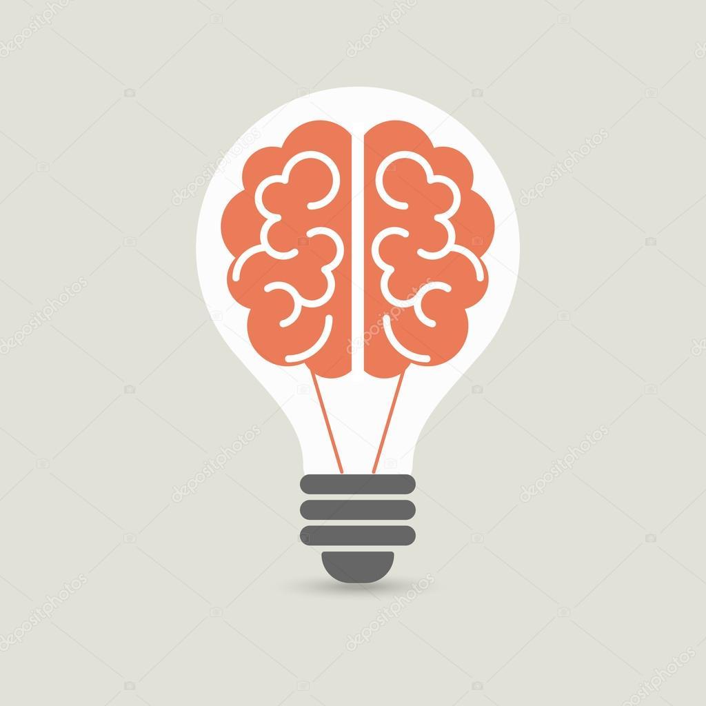 creative brain idea and light bulb concept design for poster flyer cover brochure business education vector illustration stockillustration