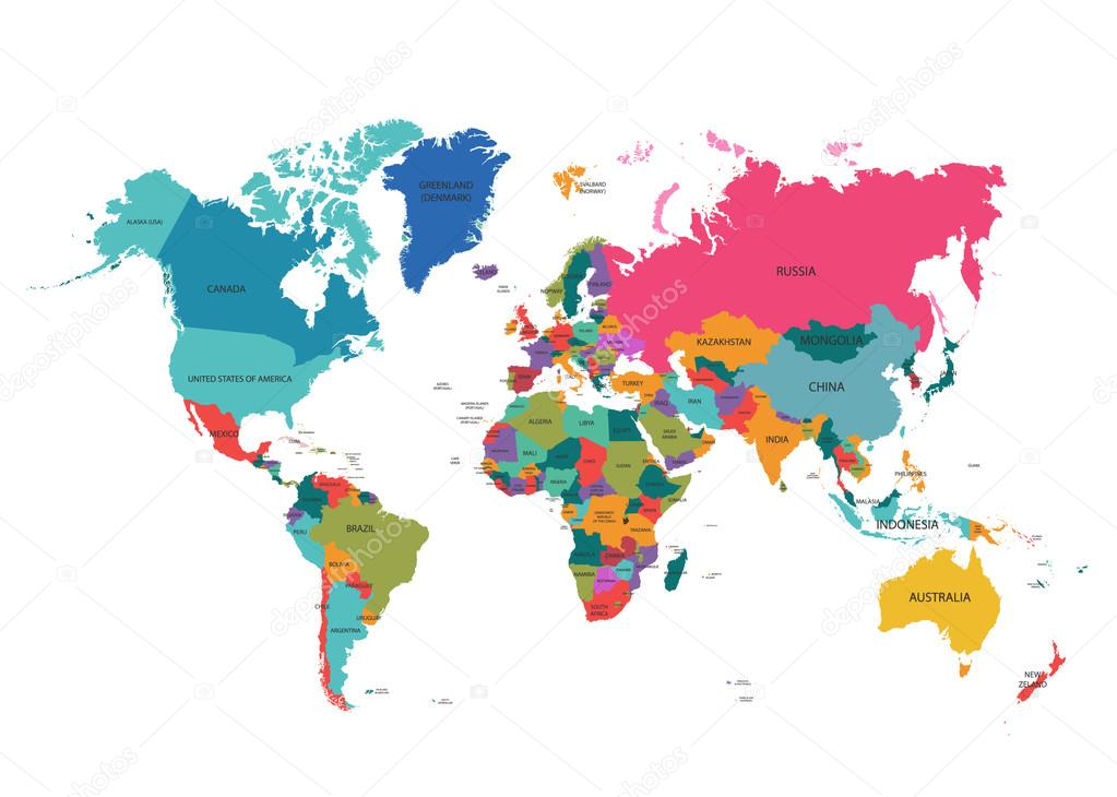 World map with colorful countries atlas eps10 vector file organized world map with colorful countries atlas eps10 vector file organized in layers for easy editing gumiabroncs Choice Image