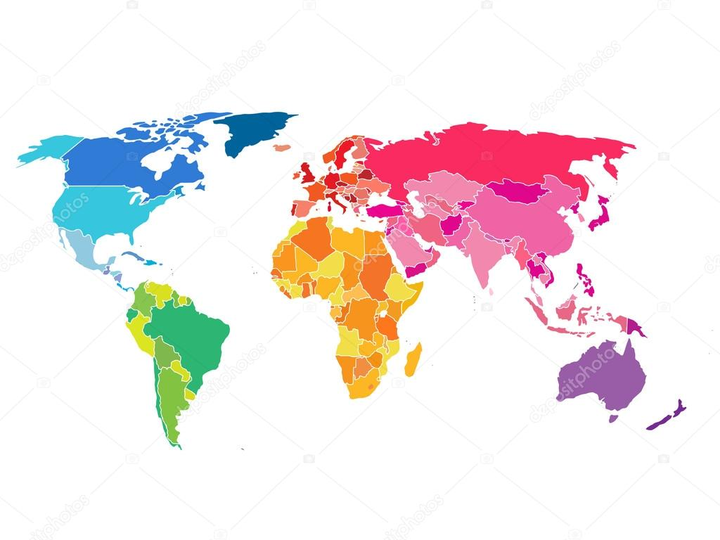World map with colorful countries atlas eps10 vector file organized world map with colorful countries atlas eps10 vector file organized in layers for easy editing gumiabroncs Images