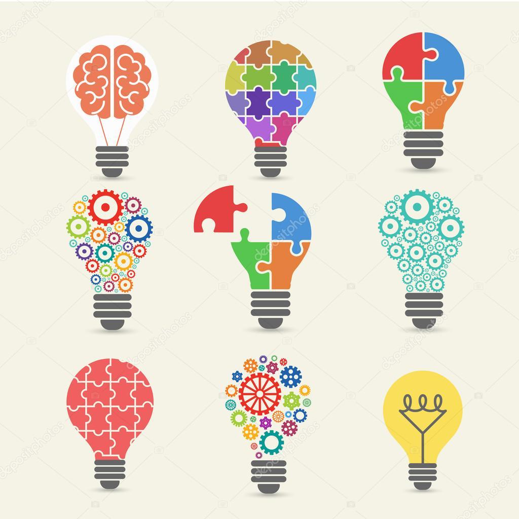 Light bulb - idea, creative, technology icons set  — Archivo