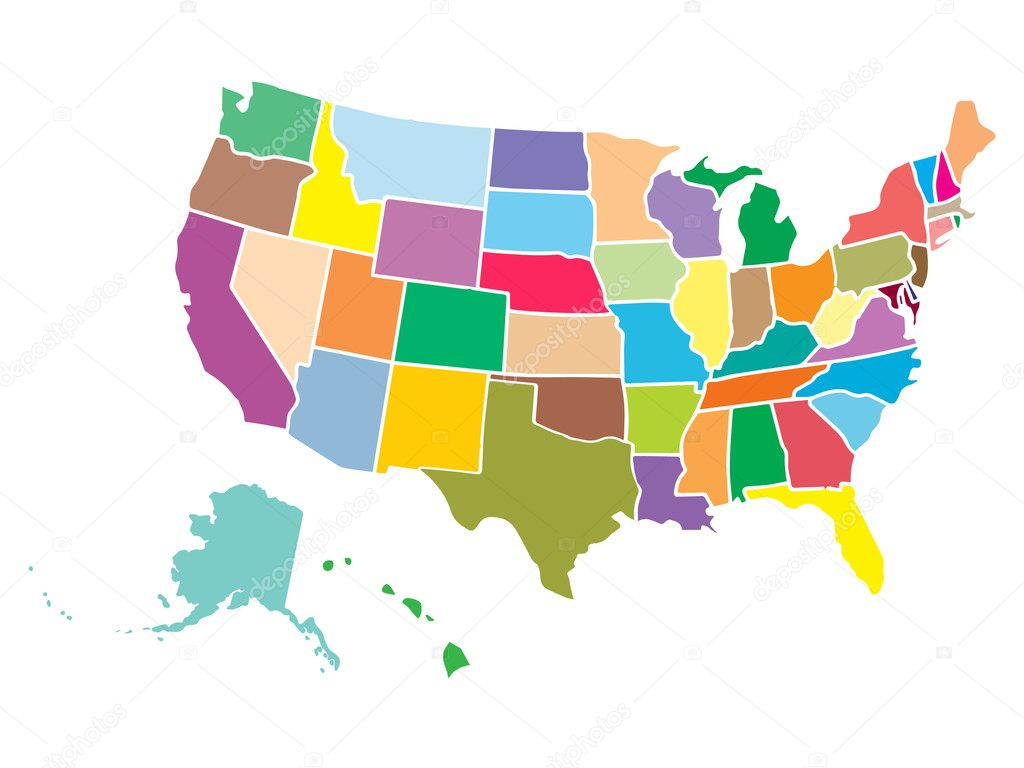 High detail USA map with different colors for each country. United ...