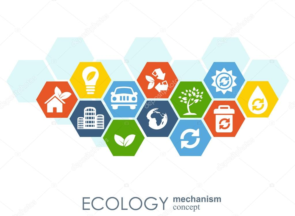 Ecology mechanism concept. Abstract background with connected gears and icons for eco friendly, energy, environment, green, recycle, bio  global concepts. Vector infographic illustration.