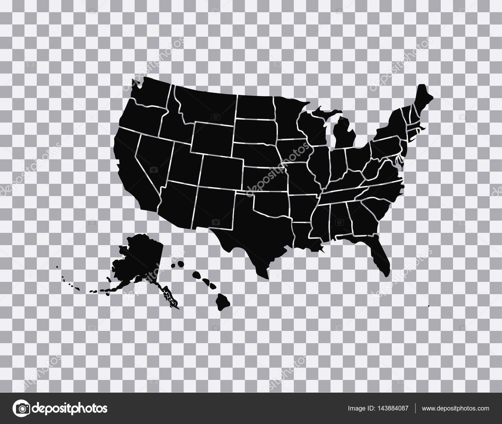 Blank similar USA map isolated on white background. United States of ...