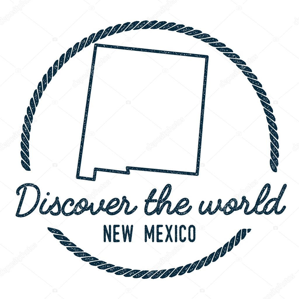 New mexico map outline vintage discover the world rubber stamp with vintage discover the world rubber stamp with new mexico map hipster style nautical rubber stamp with round rope border usa state map vector illustration gumiabroncs Images