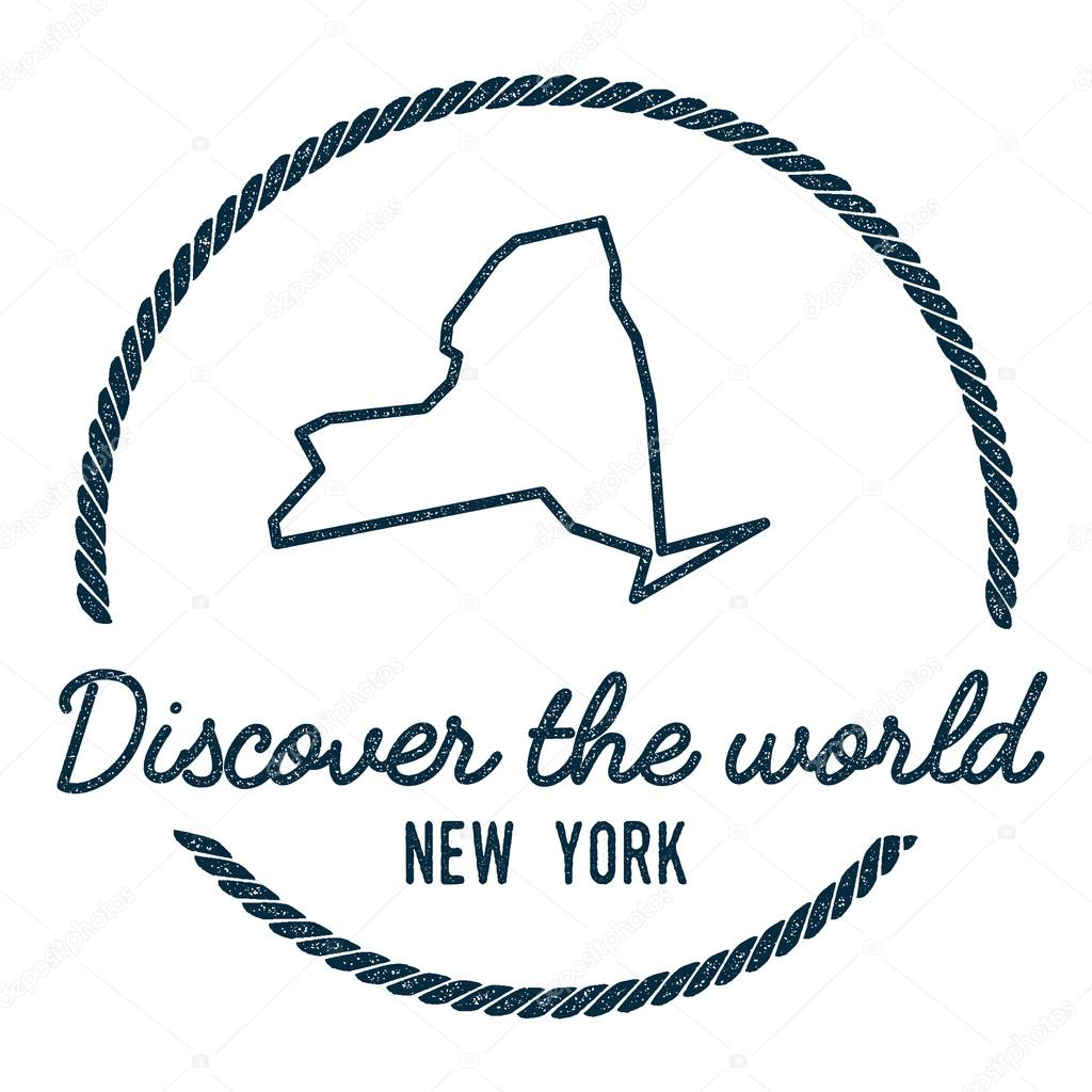 New York Map Outline Vintage Discover The World Rubber Stamp With