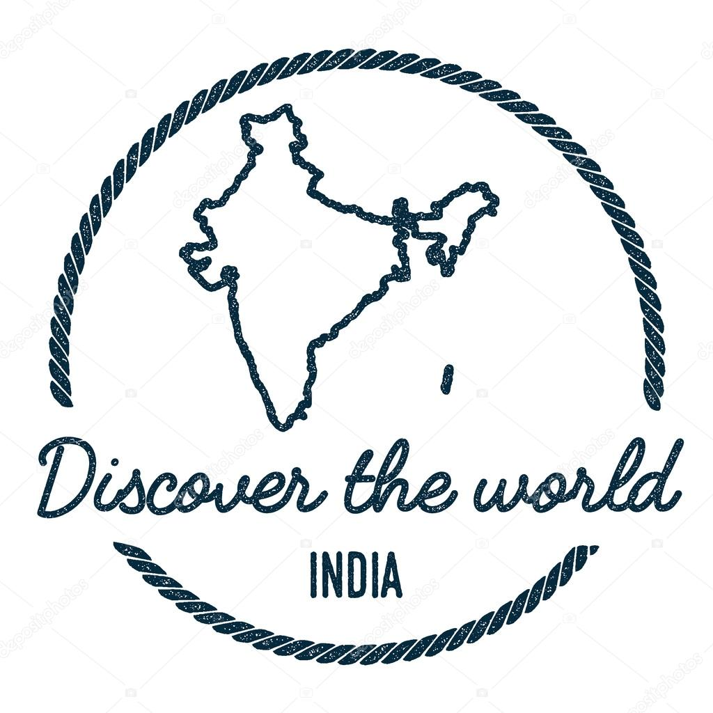 India map outline vintage discover the world rubber stamp with india map outline vintage discover the world rubber stamp with india map hipster style nautical rubber stamp with round rope border country map vector gumiabroncs Choice Image