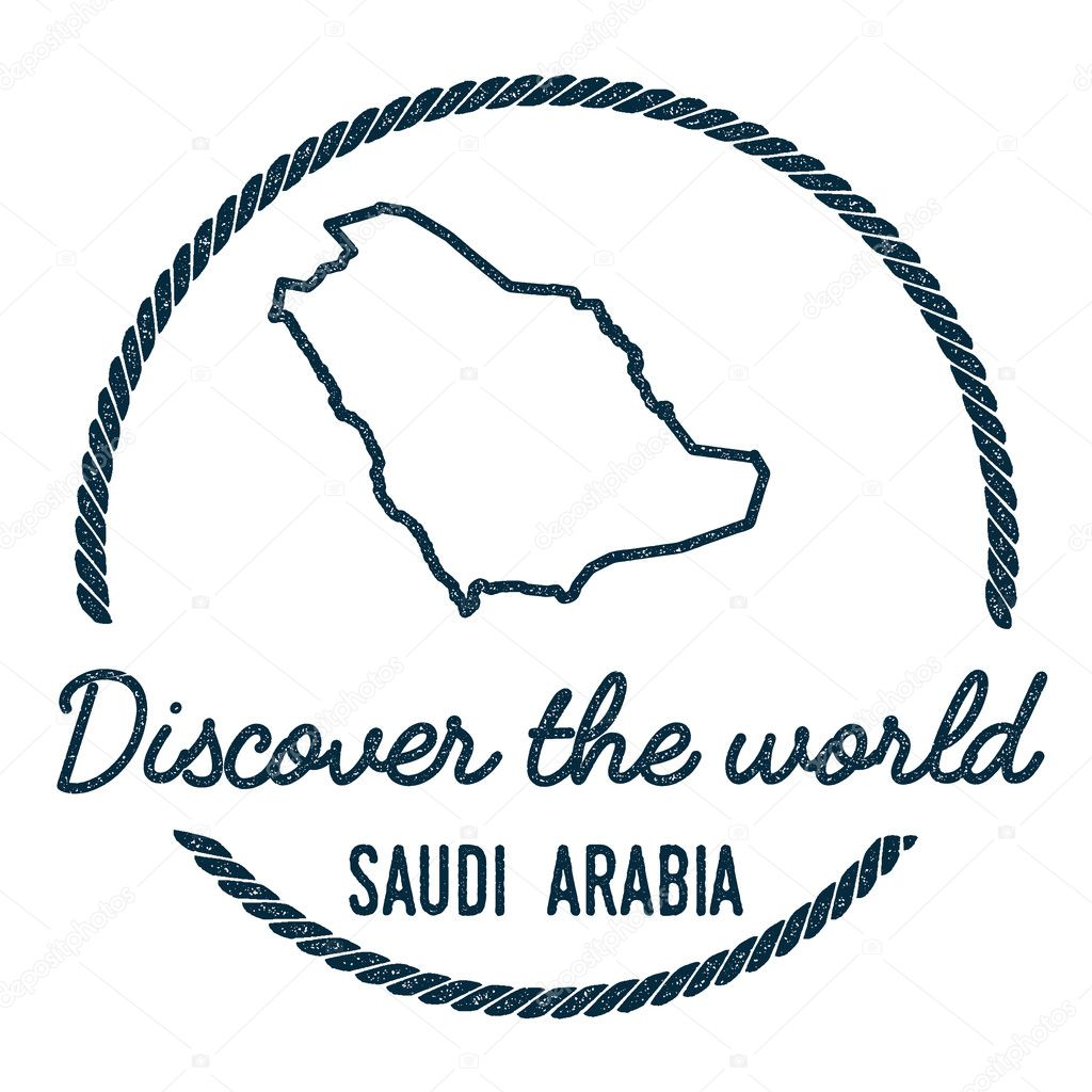 Saudi Arabia Map Outline. Vintage Discover the World Rubber Stamp ...