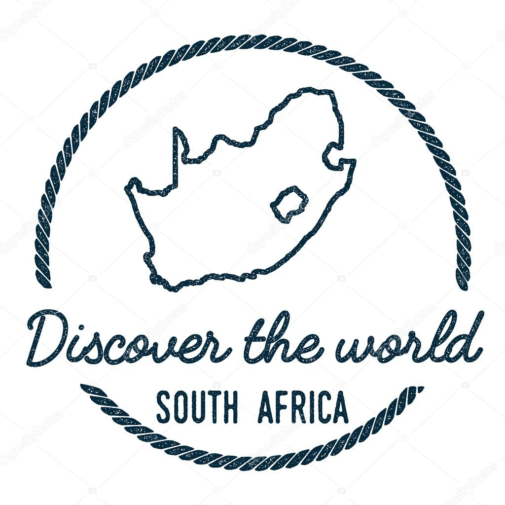 South Africa Map Outline Vintage Discover The World Rubber Stamp