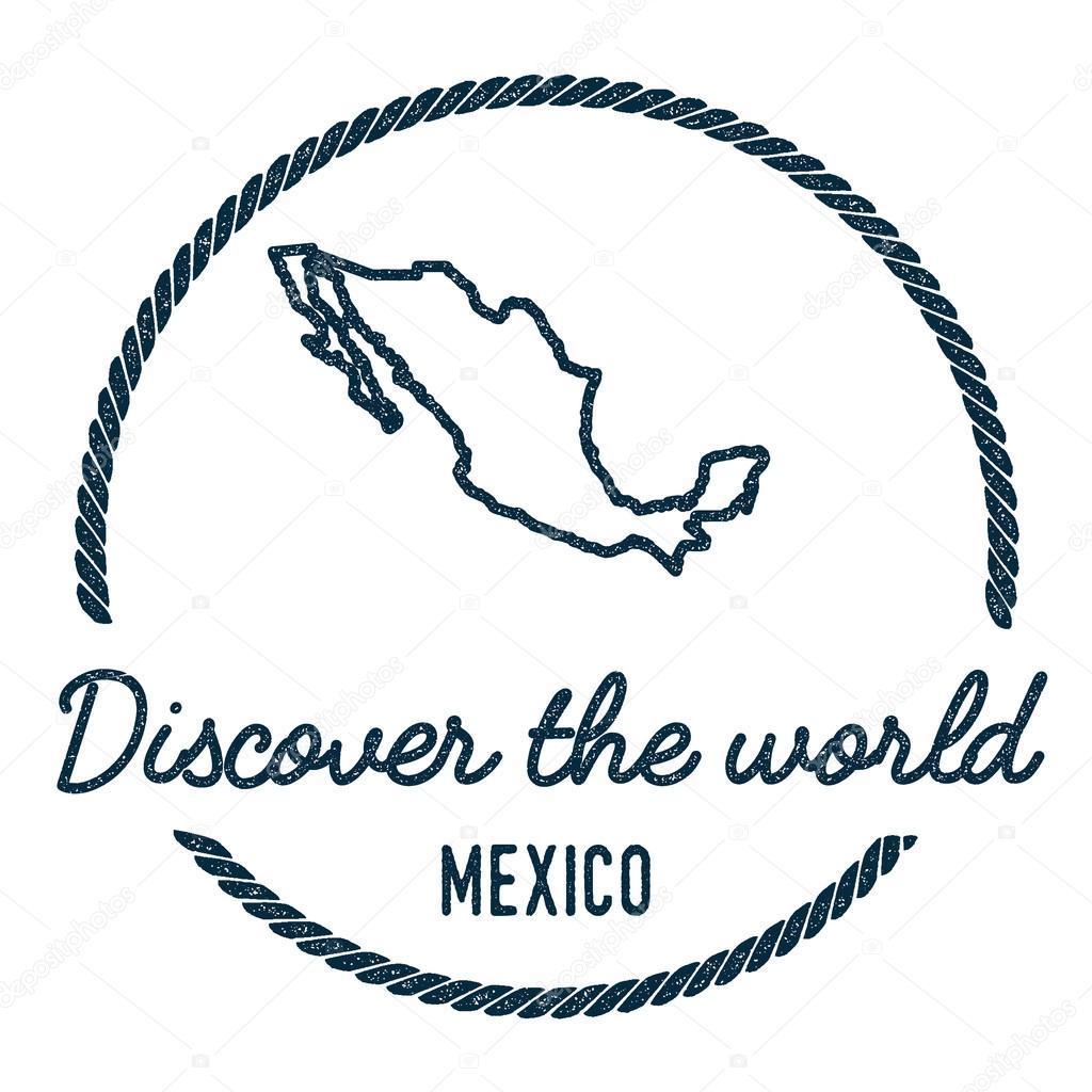 Mexiko Karte Welt.Mexiko Karte Umriss Jahrgang Entdecken Die Welt Stempel Mit
